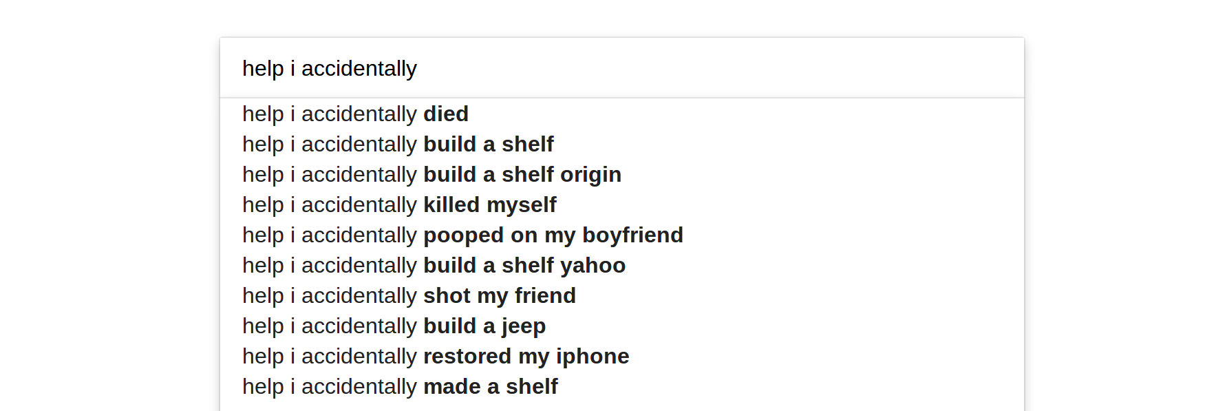 Hilarious autocomplete
