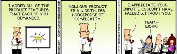dilbert, feature creep, comic strip, business outcome language